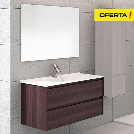 Oferta mueble de baño con lavabo y espejo Ibiza 3 piezas