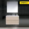 Oferta conjunto de baño ibiza con lavabo y espejo estepa