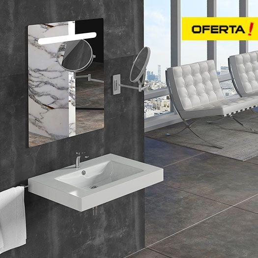 Conjunto con lavabo 824C con lavabo, espejo retroiluminado, válvula clic clac y sifón.