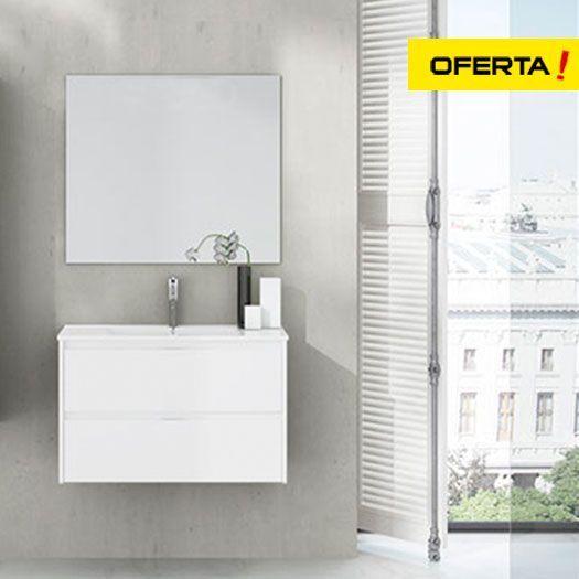 Oferta conjunto de baño ibiza con lavabo y espejo blanco