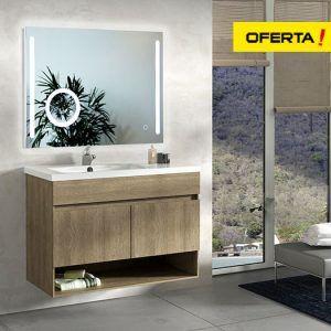 Mueble de baño Nebari 90 cm con seno desplazado y espejo retroiluminado con lupa