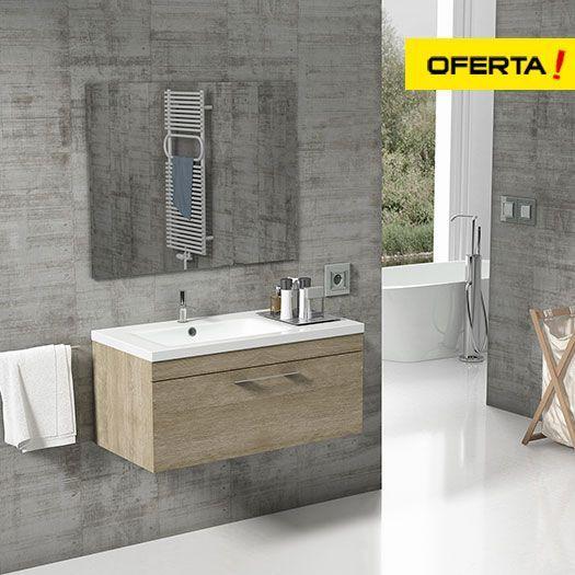 Mueble de baño florencia con lavabo con seno desplazado 90 cm