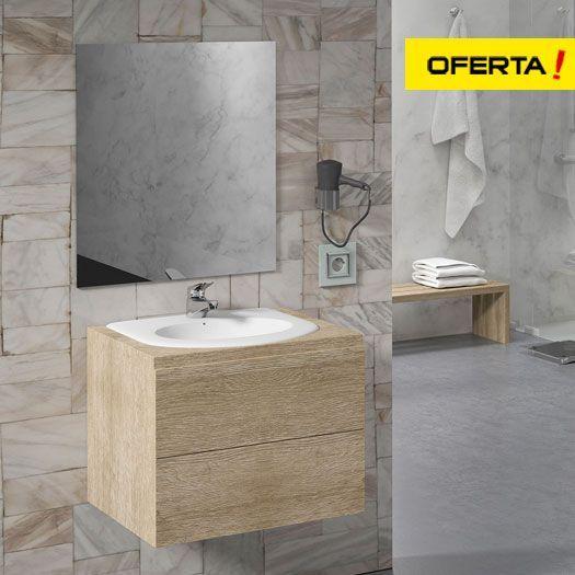Mueble de baño Ibiza 60x50 con lavabo encastrado y espejo liso