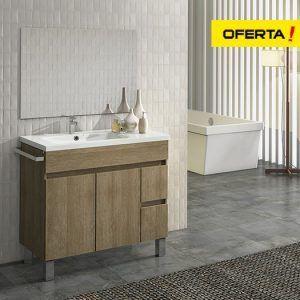 Conjunto mueble de baño isquia 90 con el seno desplazado y espejo
