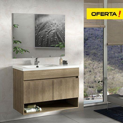 Conjunto mueble de baño nebari de 90 con lavabo con seno desplazado y espejo