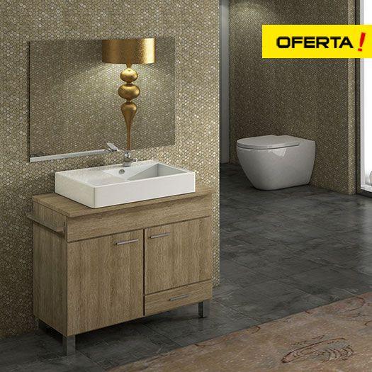 Mueble de baño Samos con lavabo sobre encimera NAKO y espejo