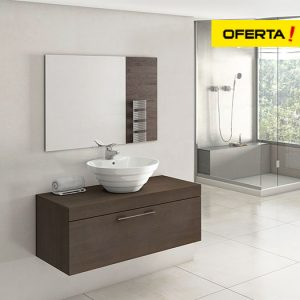 Mueble florencia con encimera de madera, lavabo sobre encimera, grifo y espejo