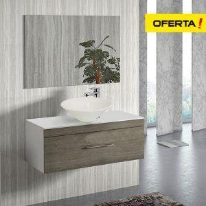 Florencia con bol sobre encimera con lavabo, espejo y grifo